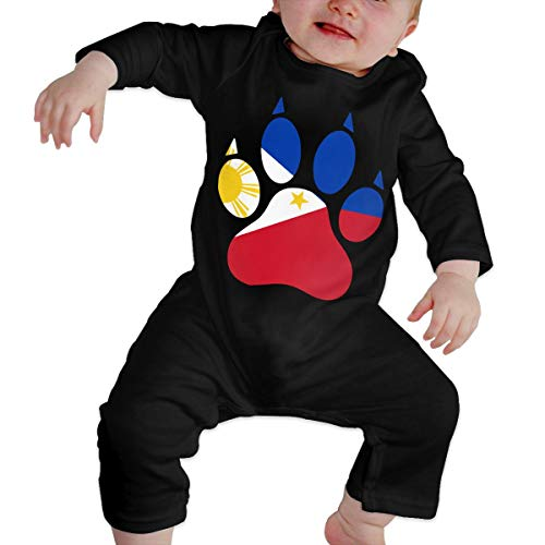 Long Sleeve Cotton Bodysuit for Unisex Baby, Cute The Philippines Dog Paw Playsuit -