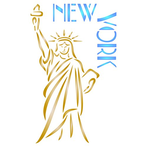 New York Stencil - 7 x 11.5 inch (L) - Reusable American Statue of Liberty City Decor Stencils for Painting - Use on Paper Projects Walls Floors Fabric Furniture Glass Wood etc. ()