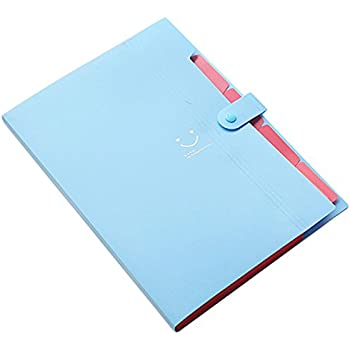 TOOGOO(R) Kawaii FoldersStationery Carpeta File Folder 5layers Archivadores Rings A4 Document Bag Office Carpetas£¨Sky Blue£