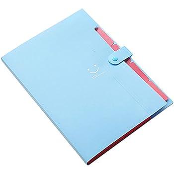 TOOGOO(R) Kawaii FoldersStationery Carpeta File Folder 5layers Archivadores Rings A4 Document Bag Office Carpetas£¨Sky Blue£