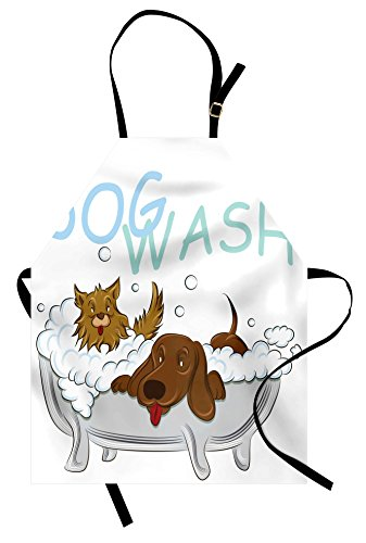 Lunarable Nursery Apron, Playful Dogs in a Bathtub Grooming Each Other Pets Theme Illustration, Unisex Kitchen Bib with Adjustable Neck for Cooking Gardening, Adult Size, White Brown Blue