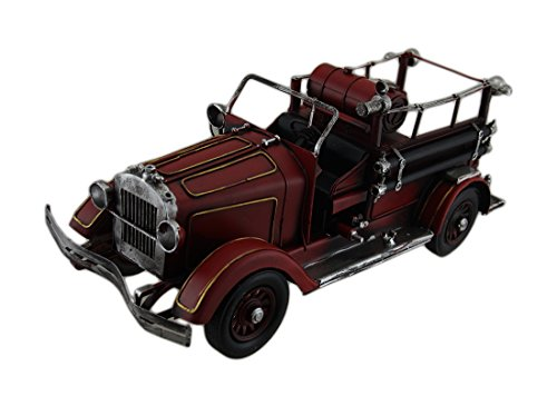 Antique Fire Engine - Zeckos Red Antique Style Fire Engine 15 in. Vintage Finish Metal Fire Truck Sculpture