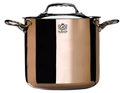 PRIMA MATERA Round Copper Stainless Steel Stockpot 8-Inch with lid by De Buyer
