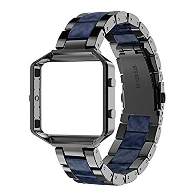 Wearlizer Compatible Fitbit Blaze Band Bands for Women Metal Wristband Replacement Fitbit Blaze Band with Frame Resin Bracelet Fit bit Blaze
