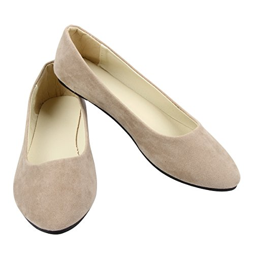 Stunner Shoes Pointed By Slip Soft Flats Women on Toe Khaki Solid Ballet Cute Classic rXwrqfR