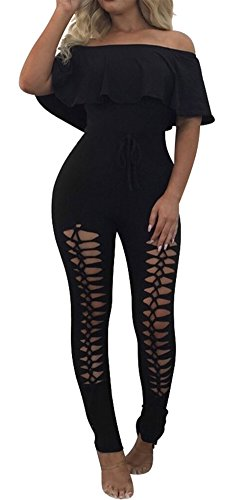 PRETTYGARDEN Off Shoulder Sleeve Hollow Out Sexy Women Bodycon Long Jumpsuit Rompers (Large, Off Shoulder Black)