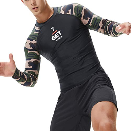 Landscap_Men Long Sleeve Wetsuits Rashguard UV Sun Protection Diving Suit Skins Surfing Swiming T Shirt