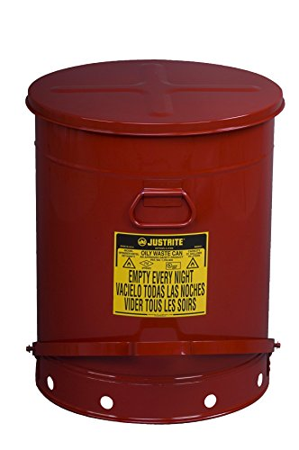 Justrite 09700; Galvanized-steel; Safety cans; For Oily waste; Red; Foot Operated cover; Raised, ventilated Bottom; Reinforced ribs; Self-closing; UL listed; FM approved; Capacity: 21 gal. (79L) by Justrite