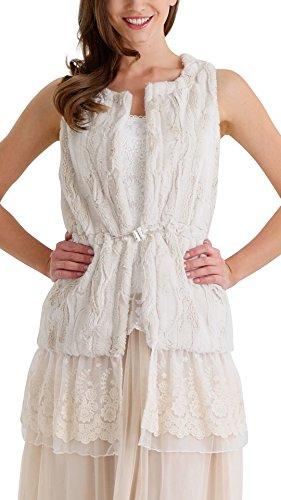 [Shop Lev] Women Fashion Faux Fur Round Neck Vest With Lace Bottom (Ivory, Large) Round Neck Vest