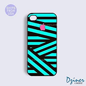 iPhone 5 5s Case - PInk Green Zebra Stripes iPhone Cover