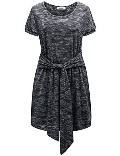 Short Sleeve Tunic Dresses for Women to Wear with Leggings,Modest O Neck Vintage Puff Sleeve Belted Career Tops Pleated Pencil Shirts Ladies Maternity Blouses Valentines Lightweight Petite Black XXL