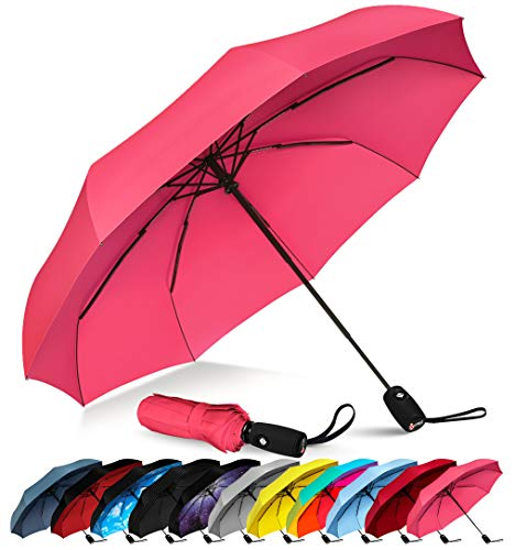 Repel Windproof Travel Umbrella with Teflon Coating (Pink) (One Person Umbrella)