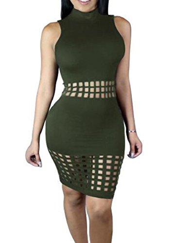 Cut Army Solid Green Bodycon Women Dress Bandage Stitching Color Coolred Hollow ExqTZwB