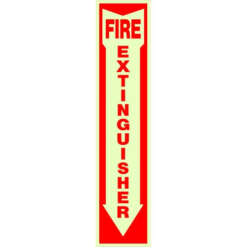 Hillman 840204 Fire Extinguisher Self Adhesive Sign with Arrow Symbol, Glow in the Dark Vinyl with Reflective Red Lettering, 4x18 Inches 1-Sign