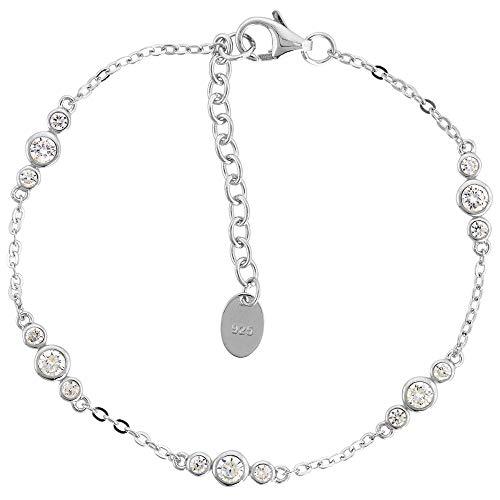 Dainty Sterling Silver CZ Station Bracelet for Women Bezel Set Rhodium Finish fits 6.5-7.5 inch ()