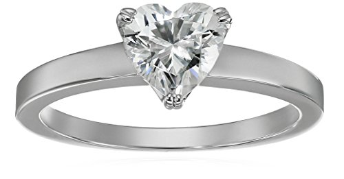 (Platinum-Plated Silver Heart-Shape (1.5 cttw) Solitaire Ring made with Swarovski Zirconia, Size 6 )