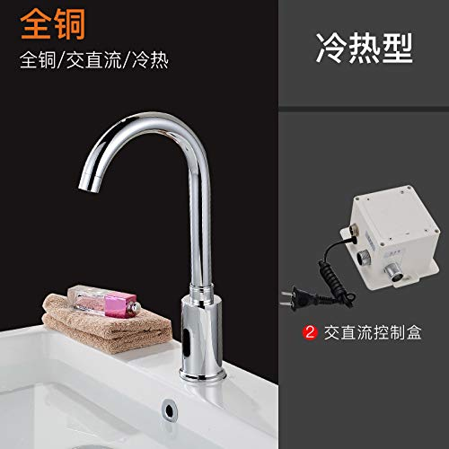 F Cold and Hot Two Piece (Full Copper) Ac and Dc JWLT faucets Infrared Intelligent Induction Faucet Single hot and Cold Hand Washing Device washbasin Faucet Copper redary Washing Valve,H Single Cooled Four Piece (Full Copper) AC and DC