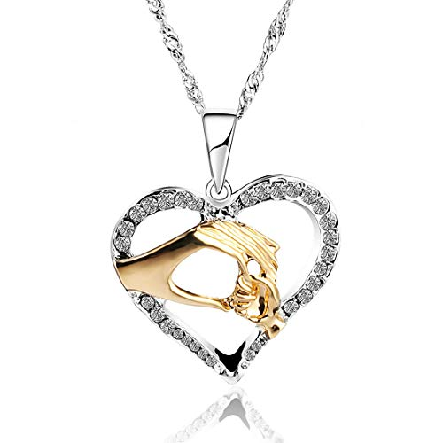 Blingsoul Mom Necklace Jewelry for Women - Sterling Silver Mothers Heart Baby Hands Love Necklaces Jewelry Gift