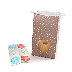 Nordic Ware 6 Count Bake and Gift Kraft Gift Bags and Stickers, Multicolor