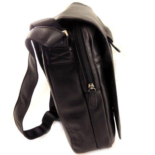Francinel [L0972] - Sacoche cuir 'Lafayette' noir (2 soufflets)
