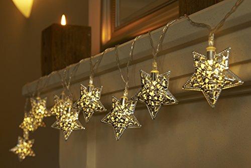 Batteriebetriebene Weihnachtliche Lichterkette mit 12 LEDs Lichterkette Warmweiß - Sterne