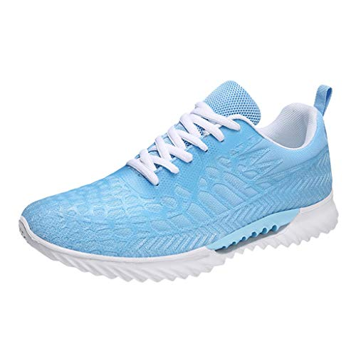 Mesh Lace Up Athletic Shoes Couple Breathable Sports Sneaker Summer Comfortable Gym Walking Running Shoes Non-Slip Loafer (Sky Blue, US:10)