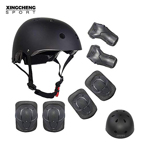 SLA-SHOP Kids Boys and Girls Protective Gear Set, Outdoor Sports Safety Equipment 7Pcs Child Helmet Knee &Elbow Pads Wrist Guards for Roller Scooter Skateboard Bicycle(3-8Years Old) (Black) ()