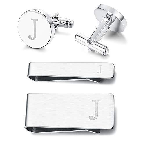 (Subiceto Firm Men's Cufflinks Tie Bar Money Clip Set 4 Pcs Engraved Alphabet J Wedding Party Business)