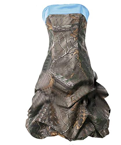 DINGZAN Strapless Pick Up Ball Prom Homecoming Dresses Camo Short 10 Light Sky Blue