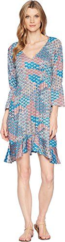 Roper Women's 1575 Multi Fan Print Ity Jersey Dress Blue ()