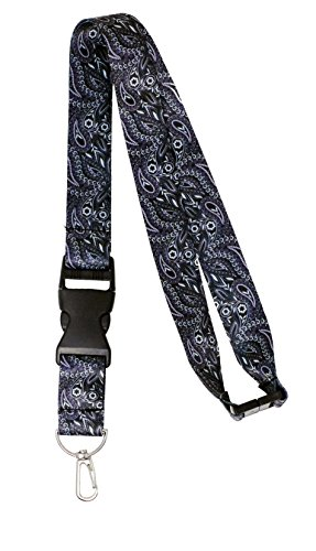 Custom Neck Lanyards - Black Paisley Lanyard Breakaway Neck Strap ID Holder (Black Paisley)