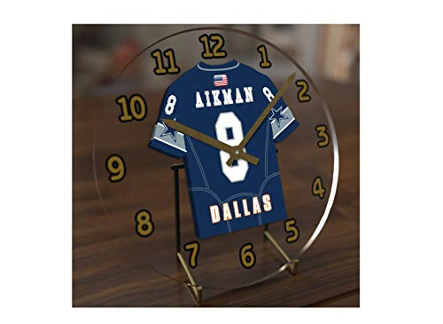 FanPlastic Troy Aikman 8 Dallas Cowboys Desktop Clock - National Football League Legends Edition !!