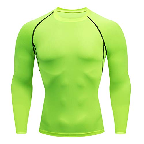 Hoolick,Mens Fitness Fast Elastic Breathable Sports Tight Long Sleeve Tops Green