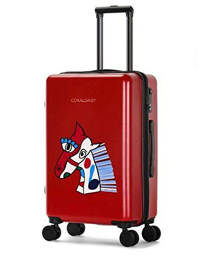 Lishangl ファッショントロリーケースユニバーサルホイール漫画スーツケースかわいいプリントギフトスーツケース B07QHVYZNC レッド S