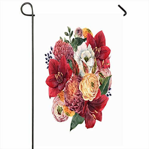 Ahawoso Outdoor Garden Flag 12x18 Inches Anemone Watercolor Delicate Floral Bouquet Red Nature Amaryllis Autumn Berry Blossom Botanical Design Seasonal Double Sided Home Decorative House Yard Sign
