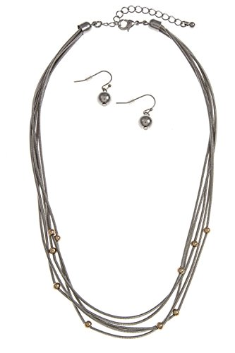 GlitZ Finery STATION BALL BEADED SNAKE CHAIN NECKLACE SET (Rhodium)