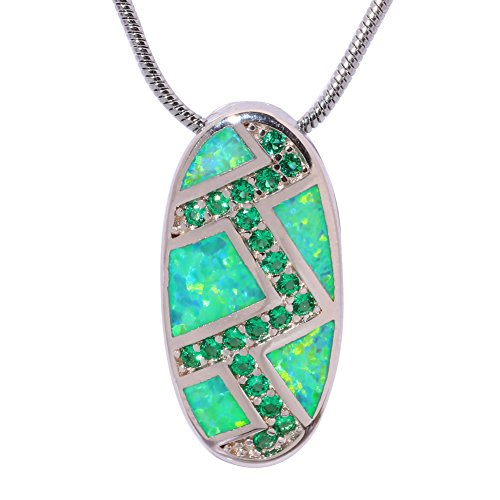 Green Opal Pendant - CiNily Created Green Fire Opal Emerald Rhodium Plated for Women Jewelry Gemstone Pendant Necklace (OD6367)