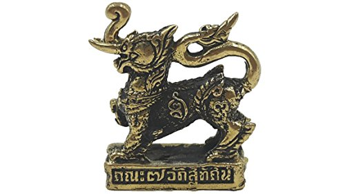 Singha brass sculptures statue antique thai traditional with amulet necklace and gift