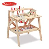 Melissa & Doug Wooden Project Solid Wood Workbench, Pretend Play, Sturdy Wooden Construction, Storage Shelf, 26″ H × 18.75″ W x 24″ L