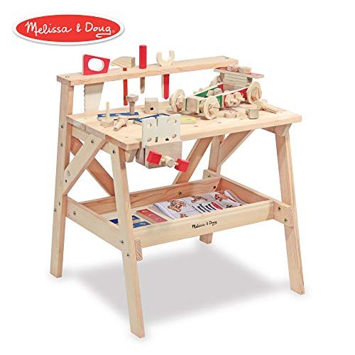 - Melissa & Doug Wooden Project Solid Wood Workbench, Pretend Play, Sturdy Wooden Construction, Storage Shelf, 26″ H × 18.75″ W x 24″ L