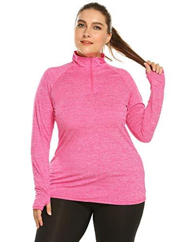 Zeagoo Women Plus Size Long Sleeve Stretchy Sports Fitness Exercise Running Workout Yoga Gym Jacket Coat T-Shirt Tees Shirt, Rose, 18 Plus