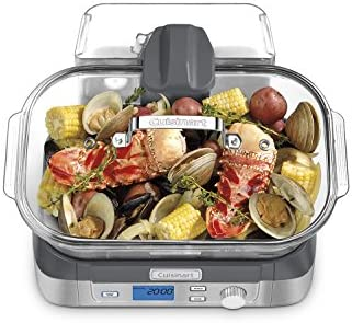 414ryT1kLCL. AC Cuisinart Digital Glass Steamer, One Size, Stainless Steel    Consumers looking for a healthy way to cook will love Cuisinart's new Cook Fresh Digital Glass Steamer. A powerful steam system delivers steam from the top down, surrounding food to cook quickly and evenly. The 5-liter glass cooking pot is large enough for family-size portions of vegetables, fish, chicken, rice and more. And the steamer's 1-liter water tank conveniently lifts off to fill. Healthy cooking is today's biggest trend, and this new glass steamer from Cuisinart makes it quick and easy. Features: Powerful steam system 5L dishwasher-safe glass pot 5 preprogrammed food settings: seafood poultry grains vegetables and manual 60 minute countdown timer LCD control panel Audible alert Start/Stop Pause & Reheat buttons 1L removable water tank Stainless steel steaming tray flips to hold different types of food Glass lid with stainless steel rim Limited 3 year warranty BPA-free