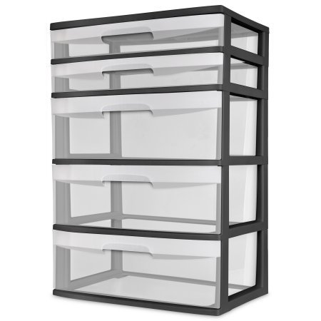 Sterilite 5 Drawer Wide Tower - Black (Case of 2) by BLOSSOMZ