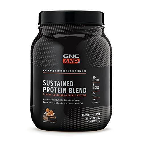 GNC AMP Sustained Protein Blend – Peanut Butter Puffs, 2.04 lbs, High-Quality Protein Powder for Muscle Fuel