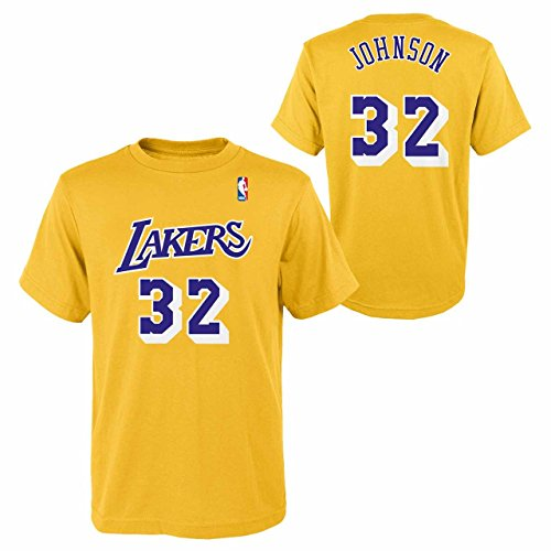 Genuine Stuff Los Angeles Lakers Youth NBA Soul Name and Number T-Shirt - Gold, Youth (Magic Johnson Jersey)