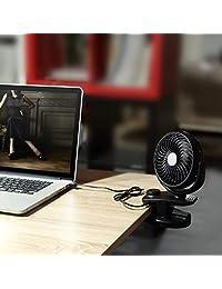 2018 nuevo doble funciona con pilas de clip Mini ventilador de mesa, velocidades ajustables recargable funciona con pilas ventilador para carriola de bebé ventilador, ventilador portátil de con fuerte wind black