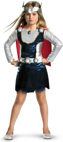 Thor Costume For Girl (Marvel Universe Thor Girl Costume, Red/White/Blue, X-Small)