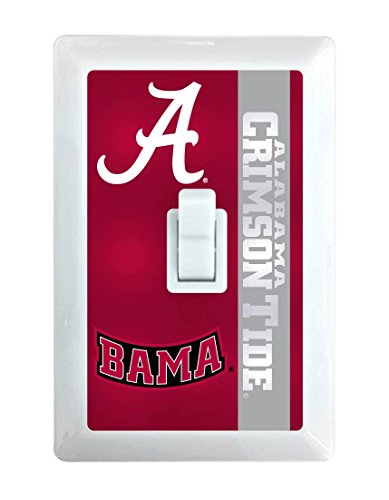 Alabama Light Switch Cover (NCAA Alabama Crimson Tide LED Illuminated Light Switch Cover-University of Alabama Light Switch Night Light)