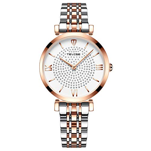 Women's Watch,Fashion Elegant Luxury Lady Watches Crystal Diamond Dial Quartz Watch White with Stainless Steel Band Rose Gold White