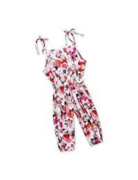 Gallus Floral Siamese Trousers Baby Girl Overalls Jumpsuits Children Girls